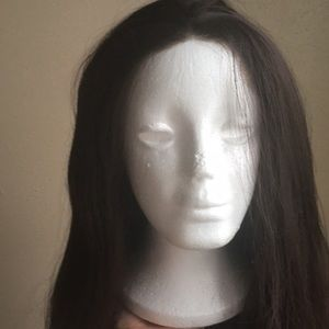 Mid length brown lace front wig